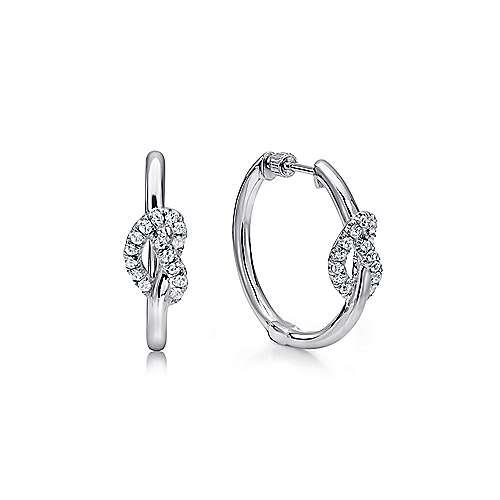 925 Sterling Silver White Sapphire 20mm Twisted Heart Hoop Earrings