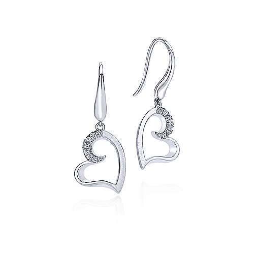 925 Sterling Silver White Sapphire Curving Open Heart Drop Earrings
