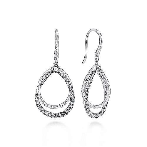 Gabriel - 925 Sterling Silver White Sapphire Drop Earrings