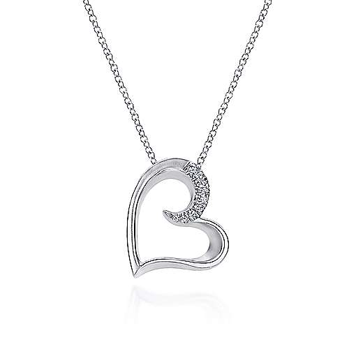 Gabriel - 925 Sterling Silver White Sapphire Open Heart Necklace