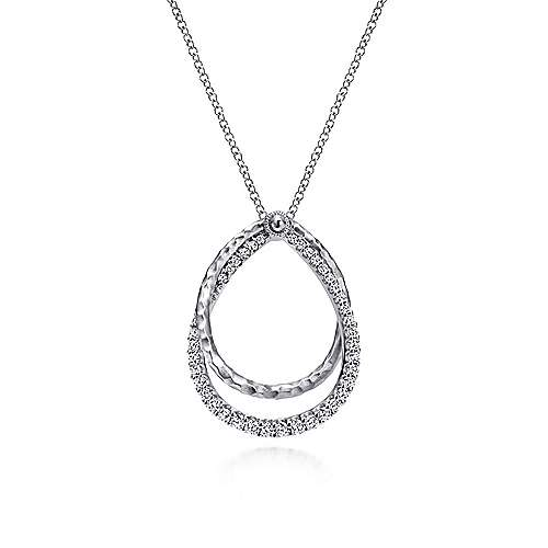 925 Sterling Silver White Sapphire Pear Shaped Necklace