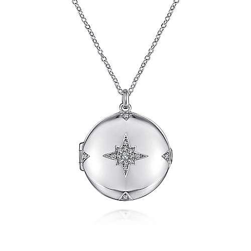 Gabriel - 925 Sterling Silver White Sapphire Starburst Round Locket Necklace