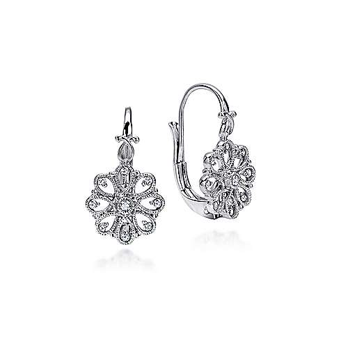 925 Sterling Silver White Sapphire Vintage Inspired Drop Earrings
