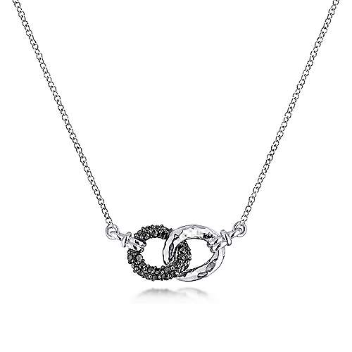 Gabriel - 925 Sterling Silver and Black Spinel Interlocking Loops Fashion Necklace