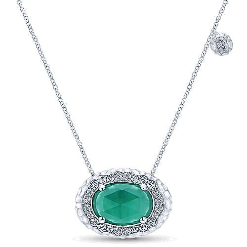 929 Sterling Silver Rock Crystal and Green Onyx Fashion Necklace with White Sapphire Halo