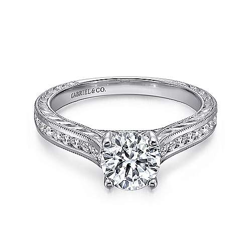 Gabriel - Abby 14k White Gold Round Straight Engagement Ring