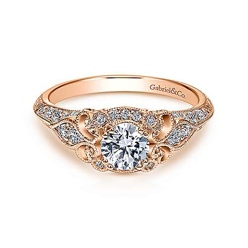 Gabriel - Abel 14k Rose Gold Round Halo Engagement Ring
