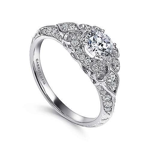 Abel 14k White Gold Round Halo Engagement Ring angle 3