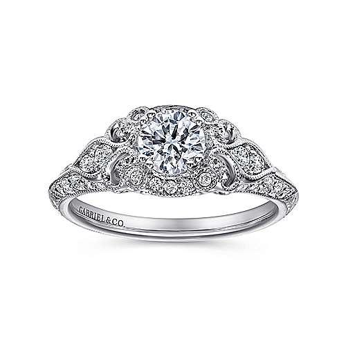Abel 14k White Gold Round Halo Engagement Ring angle 5