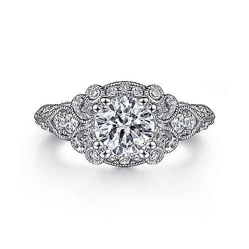 Gabriel - Abel 14k White Gold Round Halo Engagement Ring
