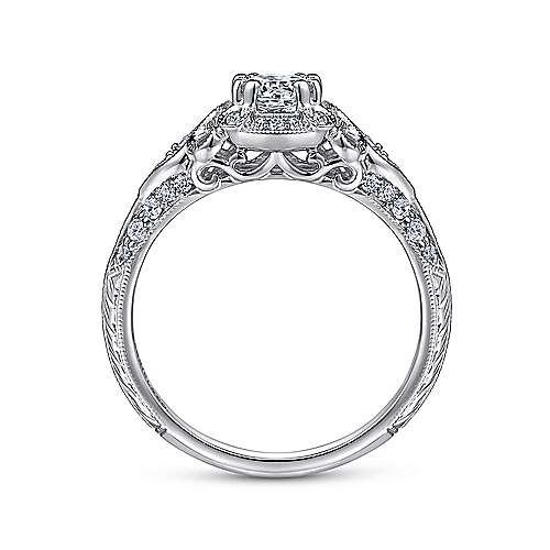 Abel 14k White Gold Round Halo Engagement Ring angle 2