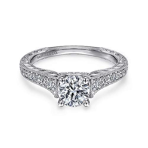 Abigail 14k White Gold Round Straight Engagement Ring