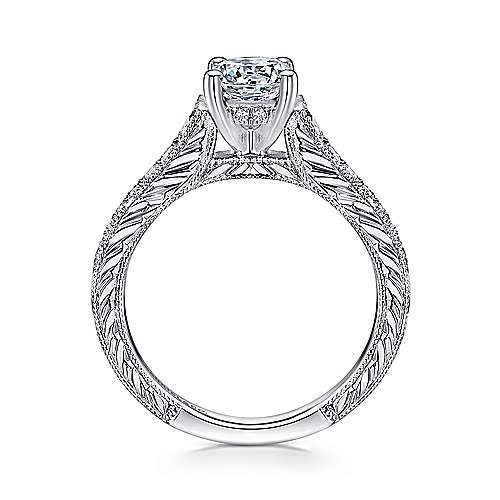 Abigail 14k White Gold Round Straight Engagement Ring angle 2