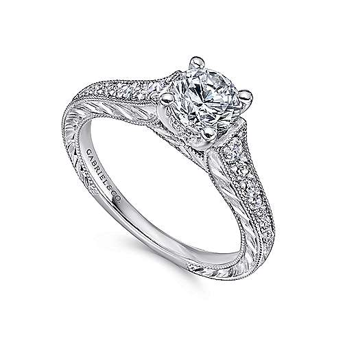 Abigail 14k White Gold Round Straight Engagement Ring angle 3