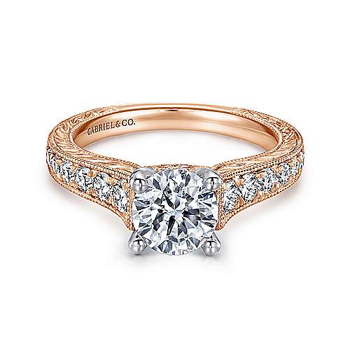 Gabriel - Abigail 14k White/pink Gold Round Straight Engagement Ring
