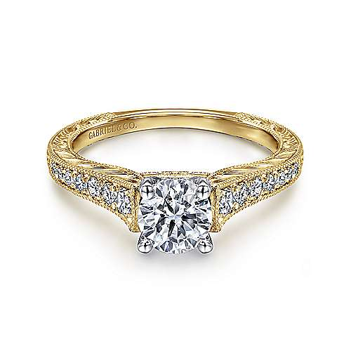 Gabriel - Abigail 14k Yellow/white Gold Round Straight Engagement Ring