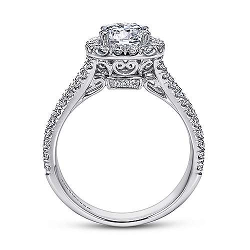 Absolute 18k White Gold Round Halo Engagement Ring angle 2