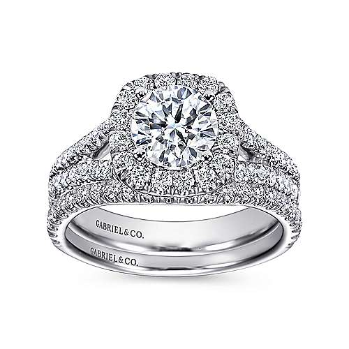 Absolute 18k White Gold Round Halo Engagement Ring angle 4