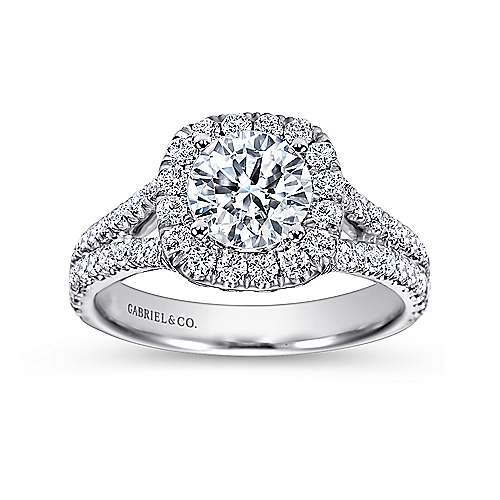 Absolute 18k White Gold Round Halo Engagement Ring angle 5