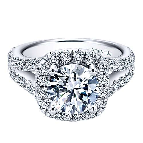 Gabriel - Absolute 18k White Gold Round Halo Engagement Ring