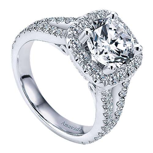 Absolute 18k White Gold Round Halo Engagement Ring angle 3