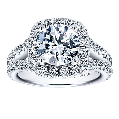 Absolute 18k White Gold Round Halo Engagement Ring