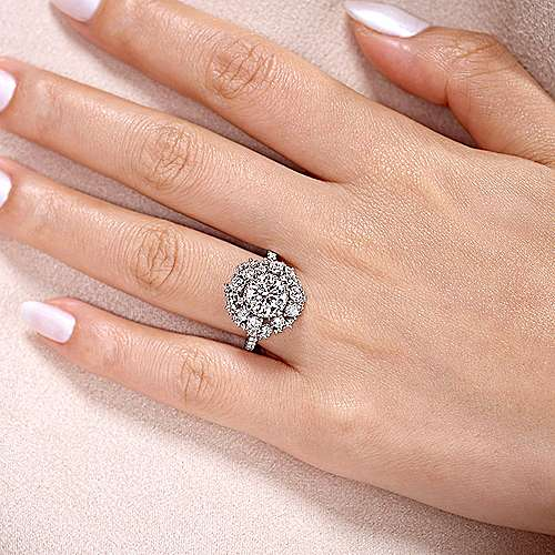 Ace 18k White Gold Round Halo Engagement Ring angle 6