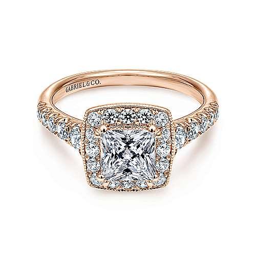 Gabriel - Addison 14k Pink Gold Princess Cut Halo Engagement Ring