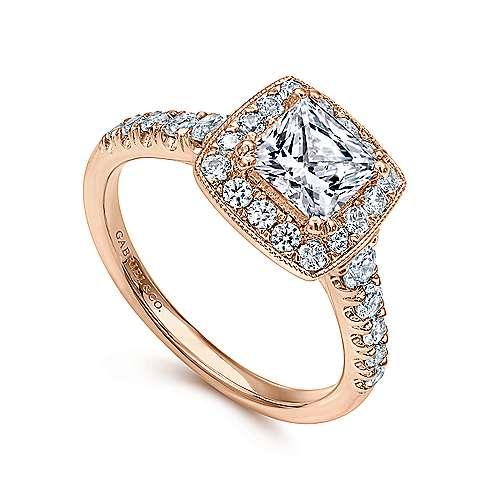 Addison 14k Pink Gold Princess Cut Halo Engagement Ring angle 3