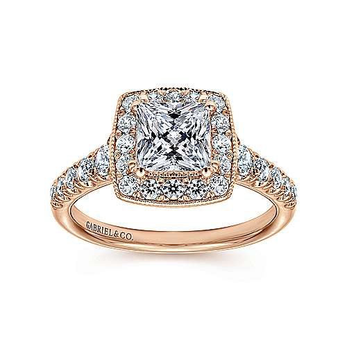 Addison 14k Pink Gold Princess Cut Halo Engagement Ring angle 5
