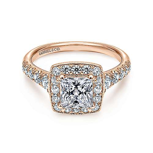 Gabriel - Addison 14k Rose Gold Princess Cut Halo Engagement Ring