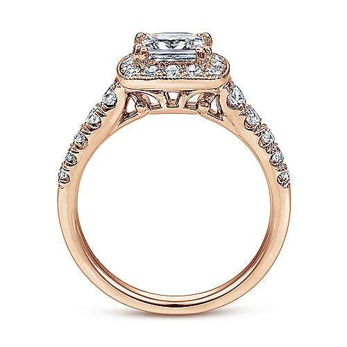Addison 14k Rose Gold Princess Cut Halo Engagement Ring angle 2
