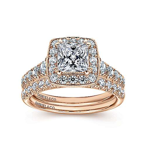Addison 14k Rose Gold Princess Cut Halo Engagement Ring angle 4