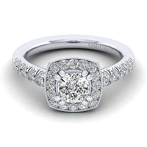 Gabriel - Addison 14k White Gold Cushion Cut Halo Engagement Ring