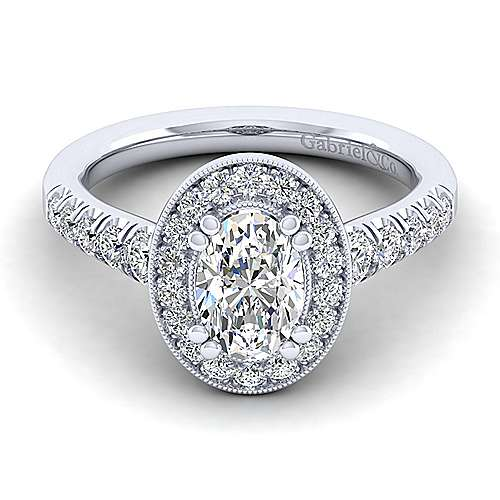 Gabriel - Addison 14k White Gold Oval Halo Engagement Ring