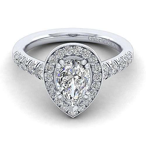 Gabriel - Addison 14k White Gold Pear Shape Halo Engagement Ring