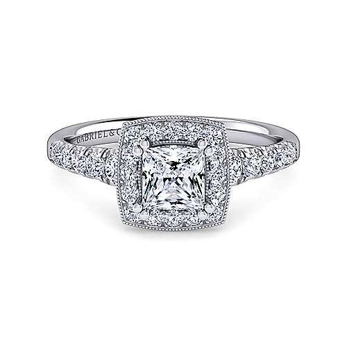 Gabriel - Addison 14k White Gold Princess Cut Halo Engagement Ring
