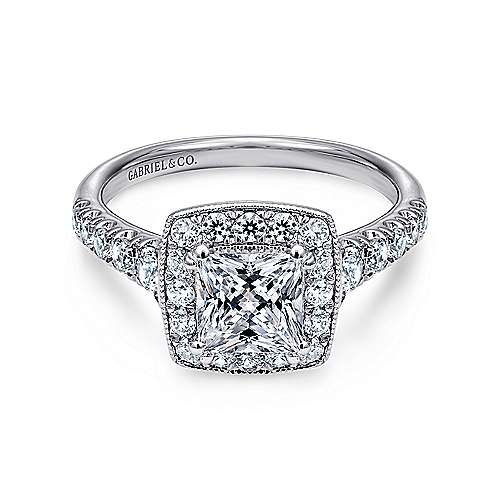 Gabriel - Addison 14k White Gold Princess Cut Halo Engagement Ring