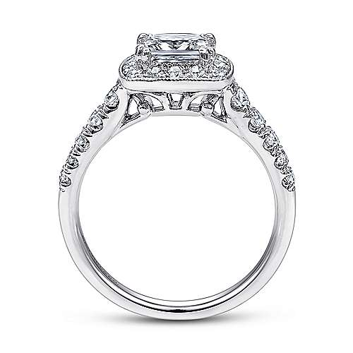 Addison 14k White Gold Princess Cut Halo Engagement Ring angle 2