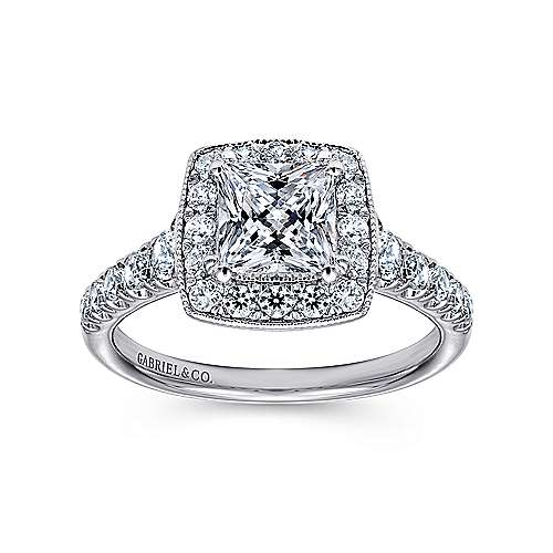 Addison 14k White Gold Princess Cut Halo Engagement Ring angle 5