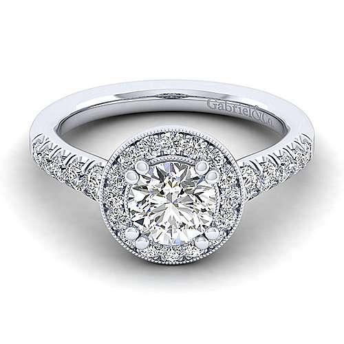 Gabriel - Addison 14k White Gold Round Halo Engagement Ring