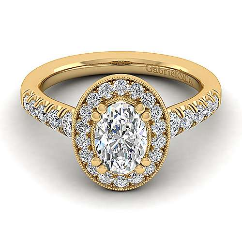 Addison 14k Yellow Gold Oval Halo Engagement Ring angle 1