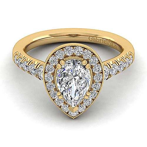 Addison 14k Yellow Gold Pear Shape Halo Engagement Ring angle 1
