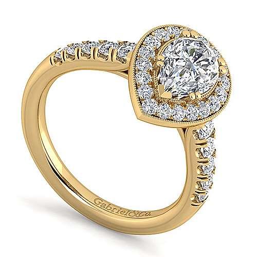 Addison 14k Yellow Gold Pear Shape Halo Engagement Ring angle 3