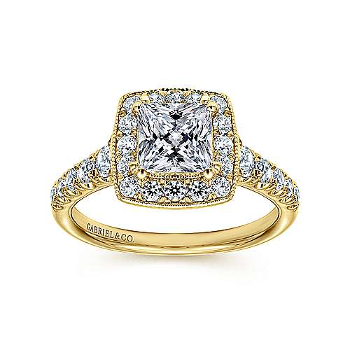 Addison 14k Yellow Gold Princess Cut Halo Engagement Ring angle 5