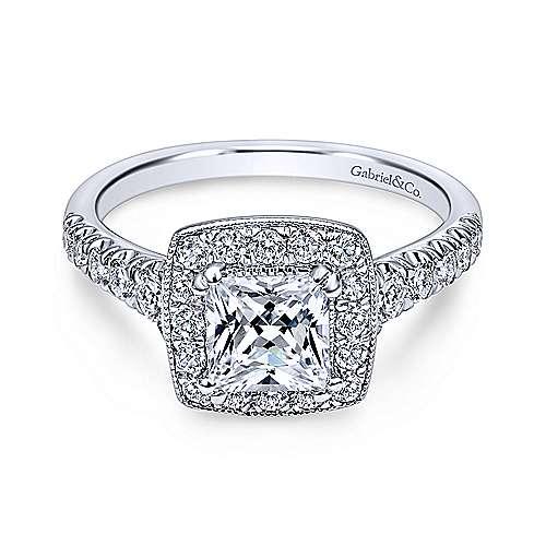 Gabriel - Addison 18k White Gold Princess Cut Halo Engagement Ring