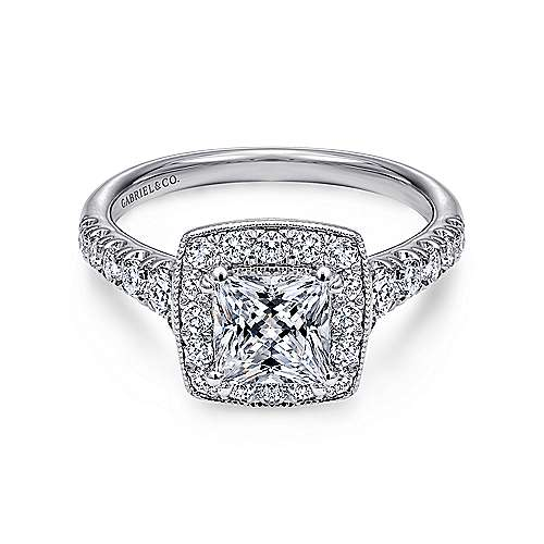 Gabriel - Addison Platinum Princess Cut Halo Engagement Ring