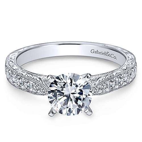 Gabriel - Addy 14k White Gold Round Straight Engagement Ring