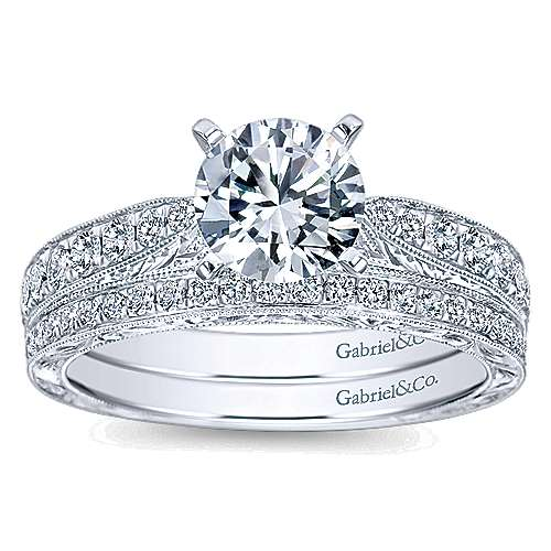 Addy 14k White Gold Round Straight Engagement Ring