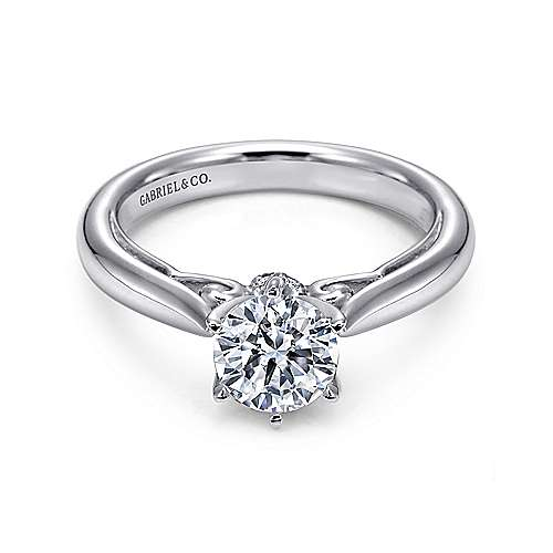 Gabriel - Adela 18k White Gold Round Solitaire Engagement Ring